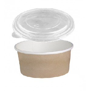 Dimexsa Round Paper Kraft-White Bowl With Lid 750GR 50PCS 0530086-CR 0151250001