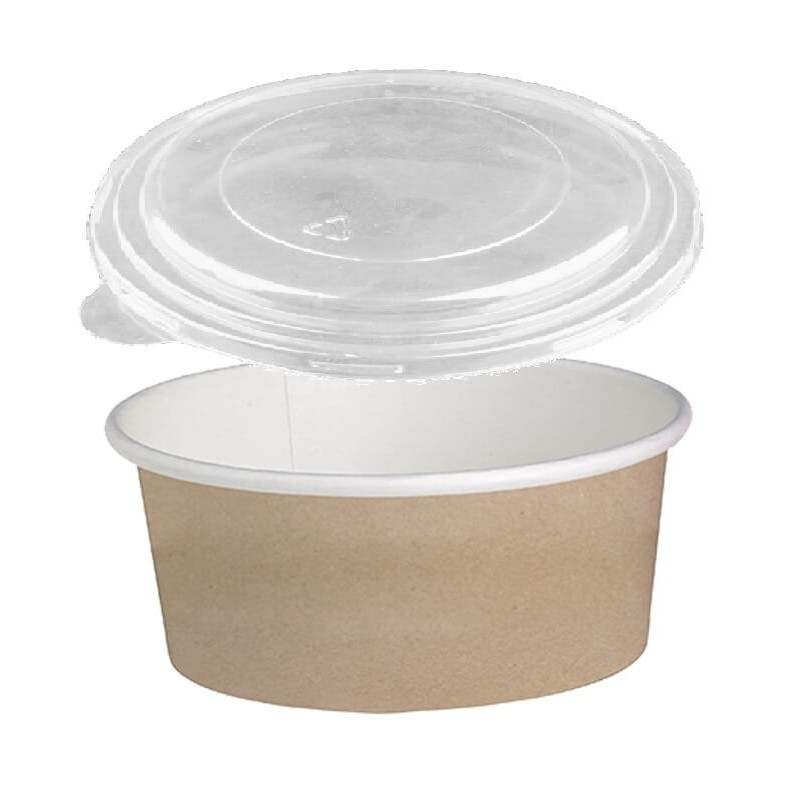Dimexsa Round Paper Kraft-White Bowl With Lid 1150GR 25PCS 0530087-CR 0151250002