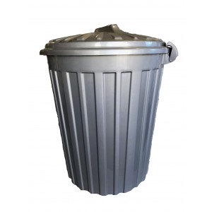 ΚΥΚΛΩΨ Plastic Rubbish Bin With Clips 60LT Grey 00331034 5202707990942