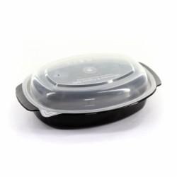 Θαλασσινός Σκεύος Οβάλ Μαύρο Μικροκυμάτων 950ML Σετ Με Καπάκι 50ΤΕΜ ΕΜ.6760 0150540016