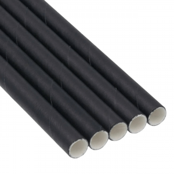 bio paper Paper Straight Straws Jumbo Wrapped Black 150Pcs 0001307 5206492013107