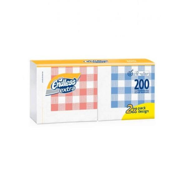 Endless Χαρτοπετσέτα Extra 200 Τεμάχια Καρώ 33Χ33 1100330201 5202995009418