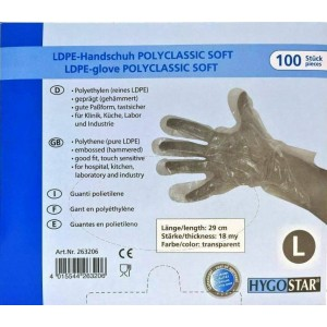 OEM Gloves Disposable LDPE Transparent 100PCS Large 12-00-033 4015544263206